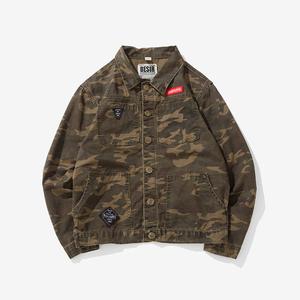 2018大码新款男装夹克男外套迷彩日系复古牛仔衣 钱塘2025-906P70
