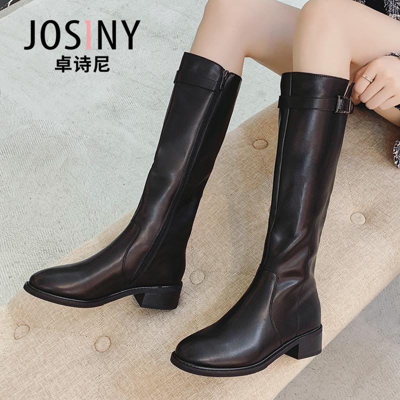卓诗尼2020秋冬靴新款粗中跟高筒靴女长靴及不过膝靴马靴骑士靴子