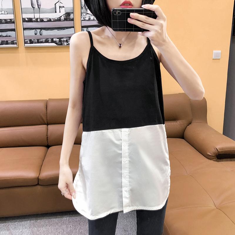2021春装韩版拼色百搭背心女宽松显瘦中长款内搭叠穿打底衫吊带衫