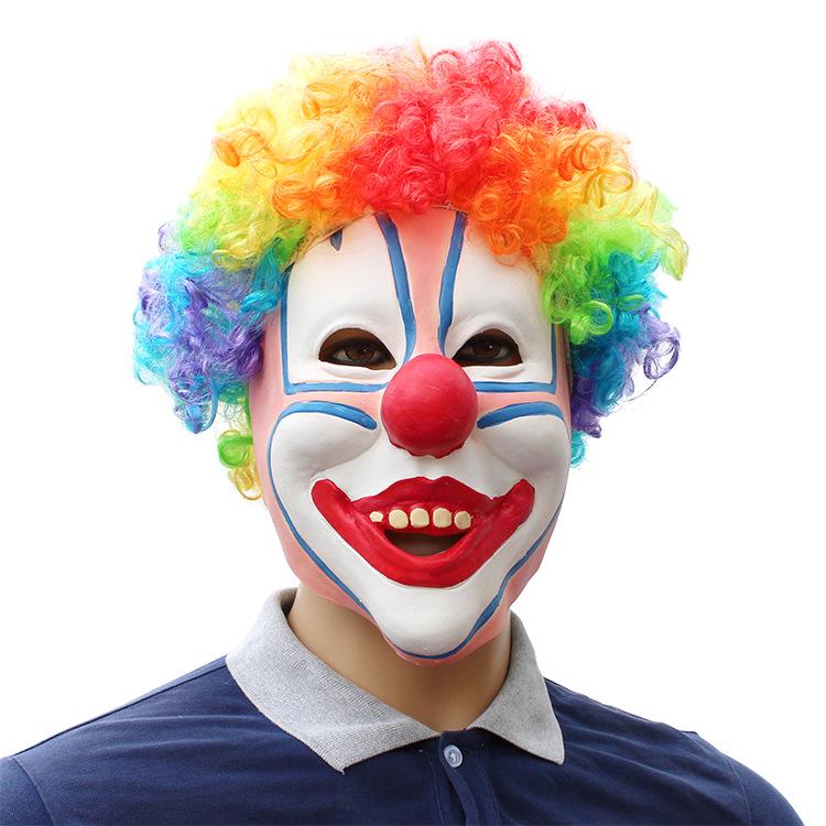 万圣节化妆舞会派对搞怪彩发小丑乳胶面具头套clown mask装扮道具