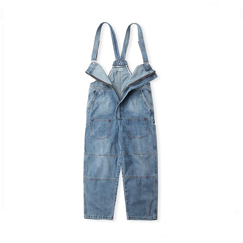 Clearance autumn large denim suspender pants mens Multi Pocket retro trendy plus fat loose straight shoulder strap pants