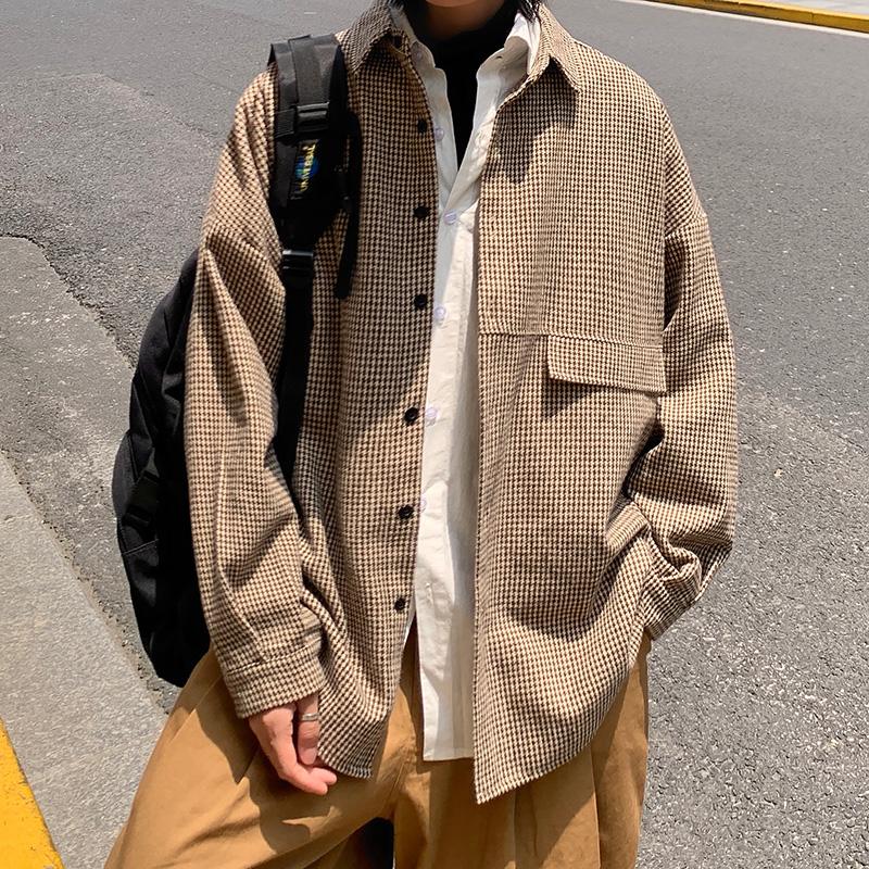 衬衫男长袖秋季韩版潮流帅气港风复古宽松休闲衬衣外套DX118 P60