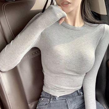 2018冬季紧身显胸打底衫圆领显瘦修身百搭舒适纯色长袖t恤女上衣