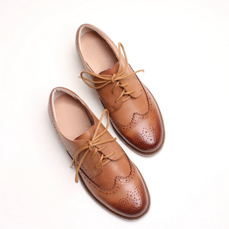 European goods tide station British spring and autumn cowhide lace up Brock flat sole single shoes womens Retro brush color handsome Oxford Shoes