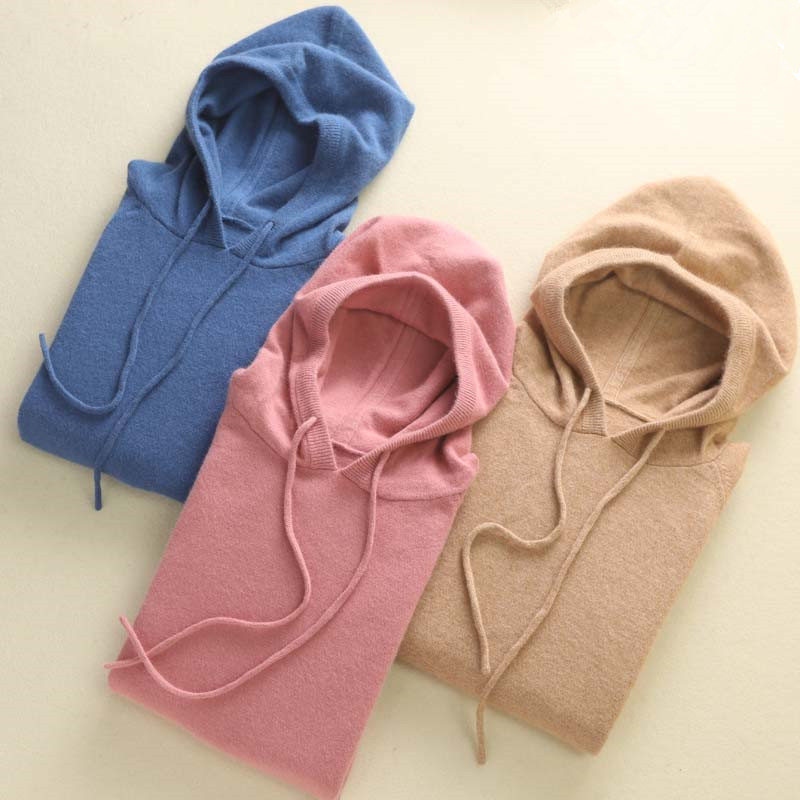 New fashion age reduction hooded cashmere sweater womens loose Hoodie large sweater womens knitted hooded sweater fashion