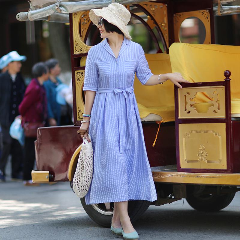【绽放衣橱】文艺旅行女装2018夏新品 条纹亚麻短袖A摆连衣裙
