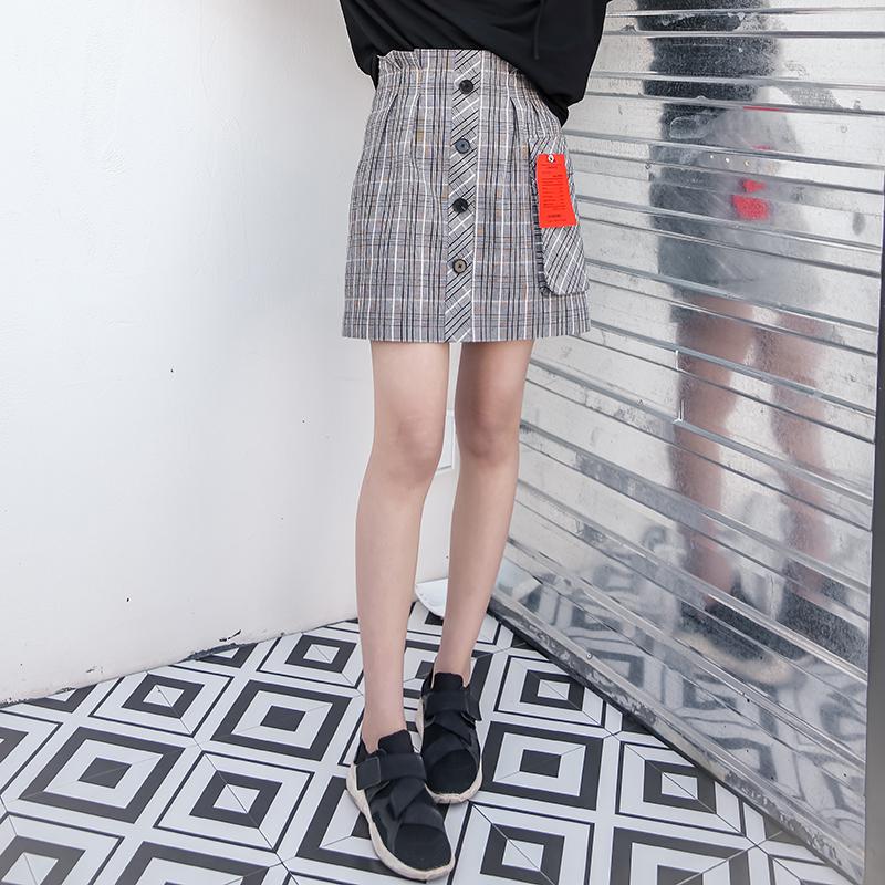 S家原创女装秋季2018新款欧美街头短款A字复古格子时尚半身裙女