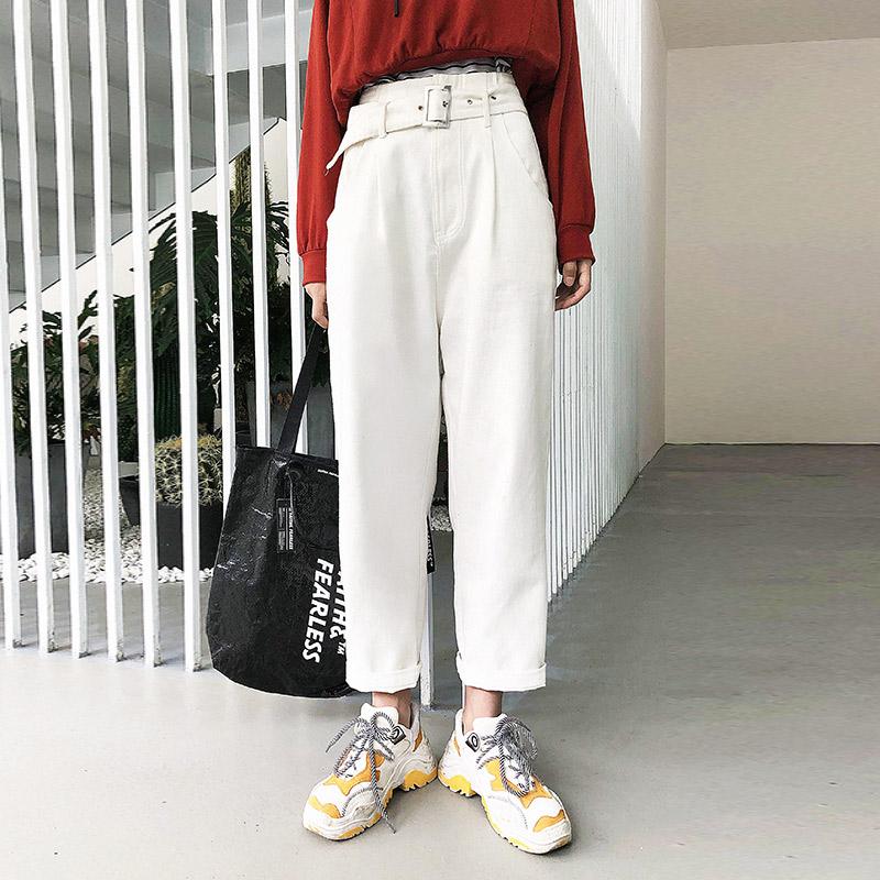 S家原创女装2018秋季新款韩版宽松高腰chic直筒裤学生牛仔裤女