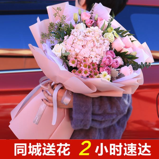 向日葵混搭玫瑰花束上海 款 鲜花速递同城生日礼物花店配送花上门 新