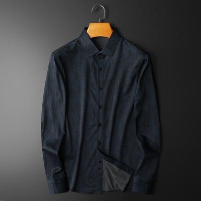 男士长袖衬衫2021春秋新款时尚潮男衬衣8723 P95平铺