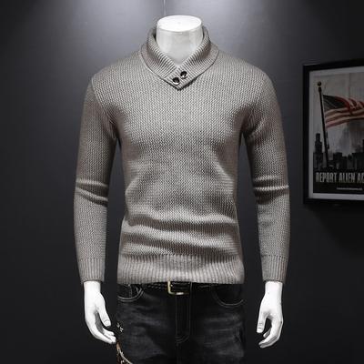 爆款!加厚粗针羊毛衫2018冬季新款抗起球粗毛线衫8372 P135米色