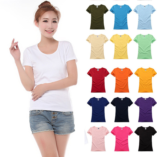 ストレッチコットン修身半袖Tシャツ女性白紙無色の婦人服のボトムシャツは手でDIYカスタム図案文字を描くことができます。