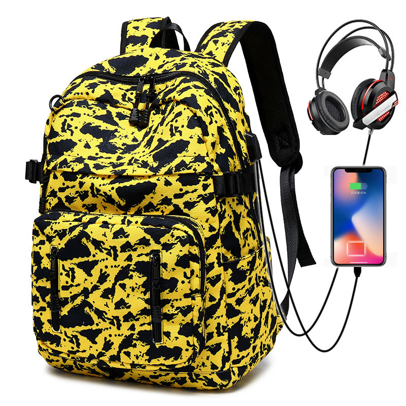 Cross border backpack mens outdoor street trend backpack leisure camouflage canvas schoolbag for high school students