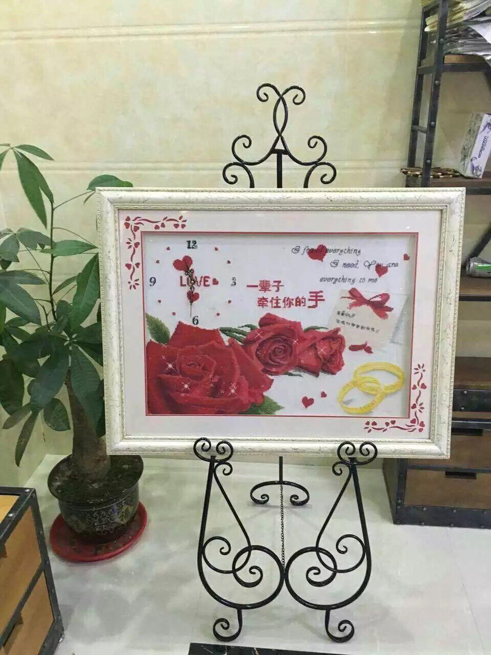 欧式铁艺油画架子相框架落地支架展示架 海报架照片托架婚庆画架