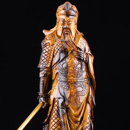 海柳艺术大师级雕关公黑珊瑚(哑光)-摆件-《重义气信用》W-H394