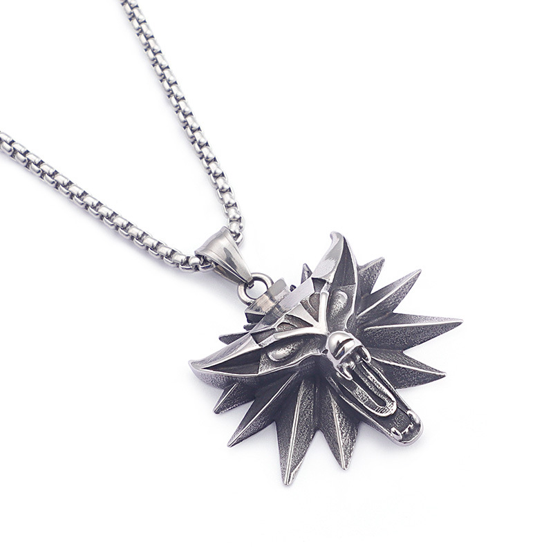 Movie Wizard 3 titanium steel wolf head pendant necklace for men and women (only steel color)