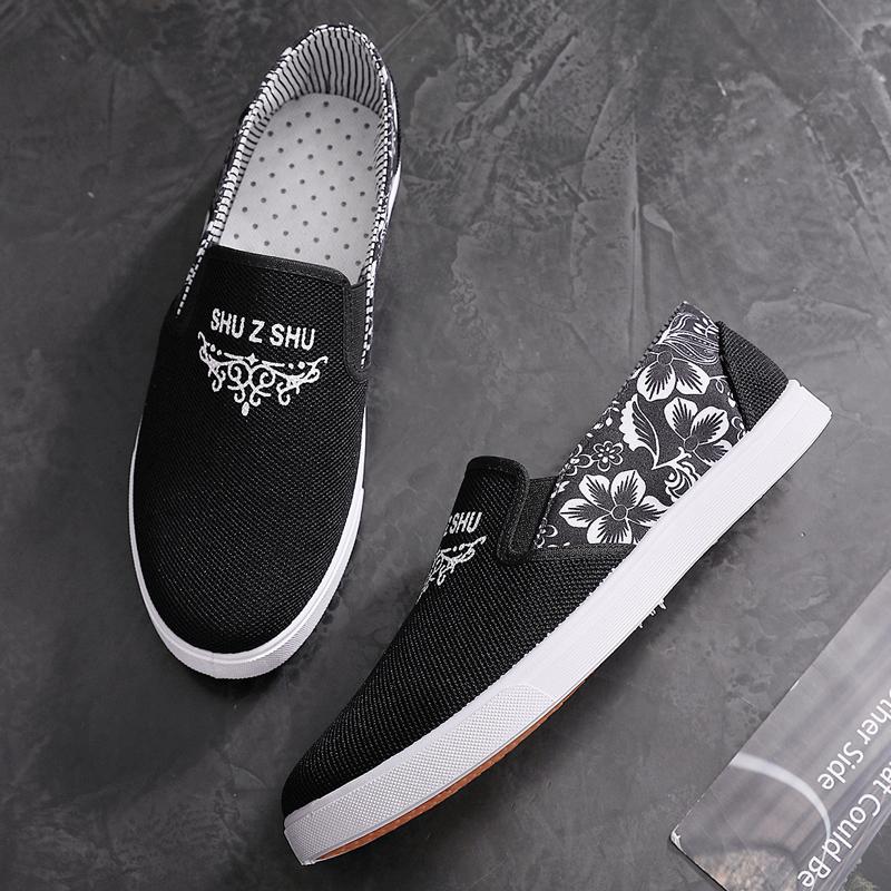 春季男鞋帆布鞋男潮休闲鞋韩版加绒保暖板鞋低帮韩版百搭北京布鞋图片
