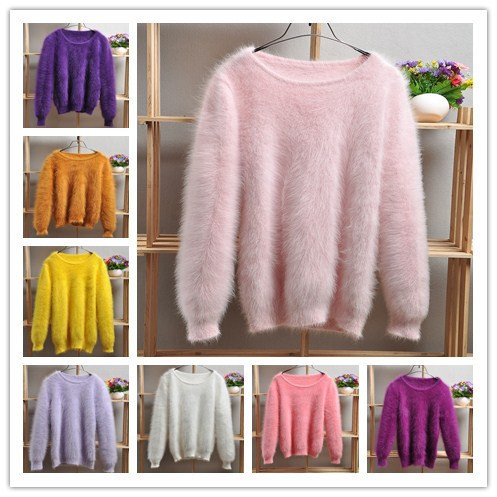 Sweater womens soft long hair mink bottom sweater solid color casual Pullover rabbit hair sweater