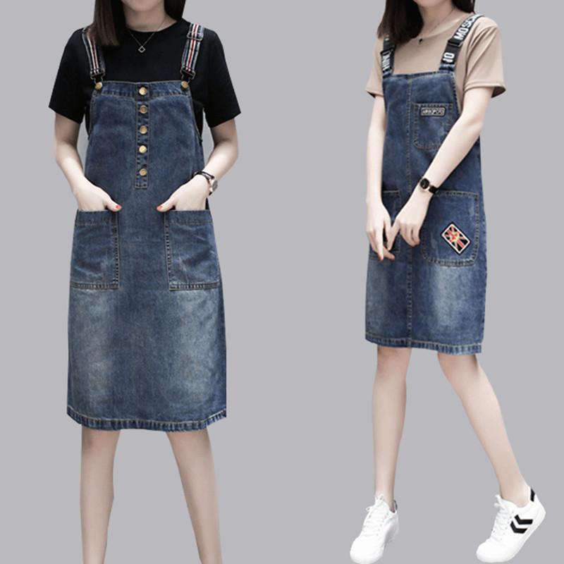 夏装新款大码女装胖mm牛仔背带裙女韩版两件套中长款连衣裙套装裙