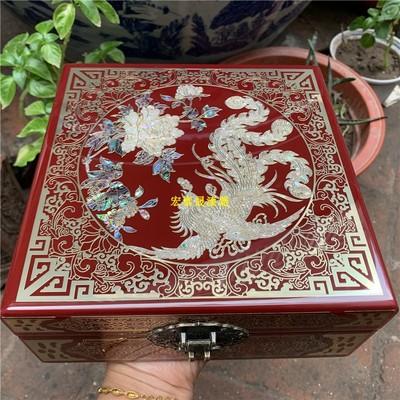 木质 中国风 平遥推光漆器 掐铜丝 镶嵌鲍鱼贝壳 珠宝首饰盒