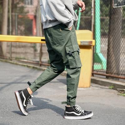 A8090-P55控85新日系港风束脚工装裤大码哈伦休闲裤男99%棉1%其他