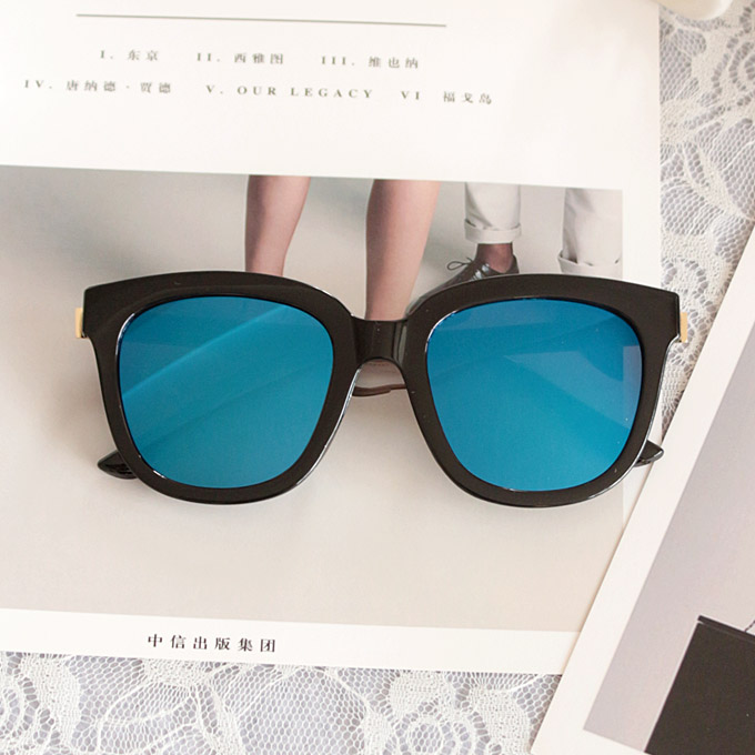 2020 South Korean versatile square Sunglasses female trendy blue mirror reflection sun protection sunglasses male