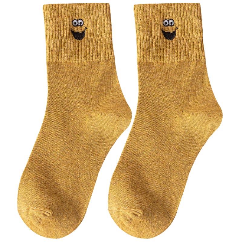 5双袜子女中筒袜纯棉中长袜