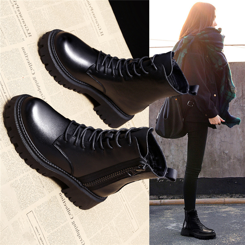 Martin boots womens side zipper fall / winter 2020 new heavy soled thick heel lace up motorcycle boots