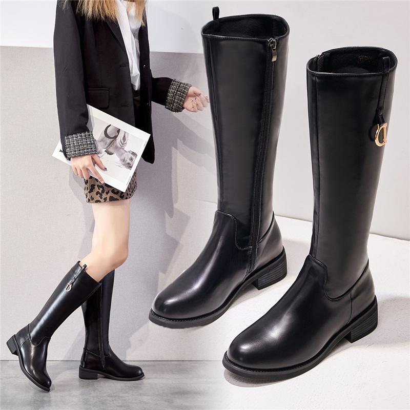 高筒靴2020秋冬新款女靴软皮粗跟百搭长筒靴不过膝骑士靴