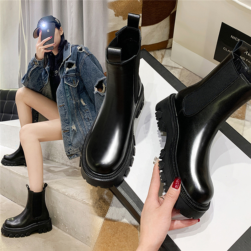 2020 New England style Chelsea chimney boots with thick bottom and versatile plush cotton Martin boots
