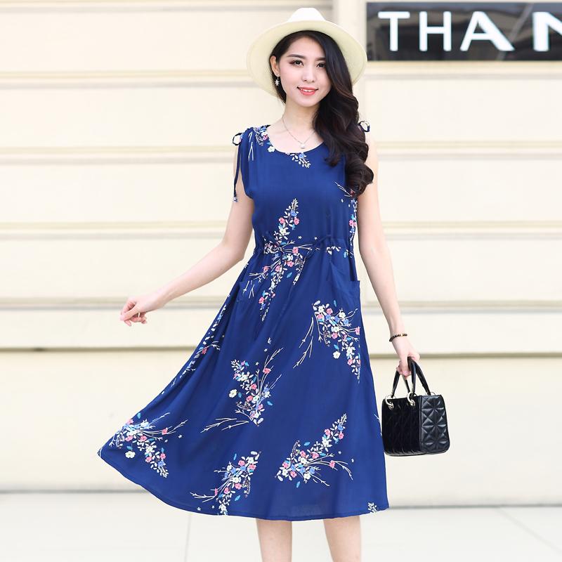 夏装新裙子中老年女装中年棉绸抽绳短袖连衣裙40-50岁妈妈装睡裙