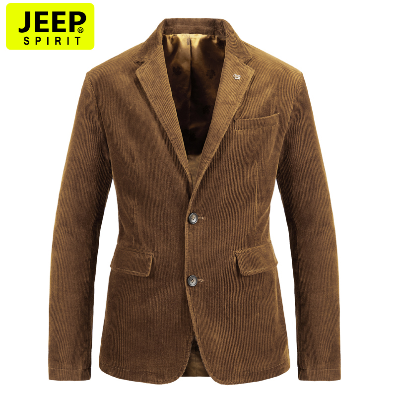 Jeep autumn leisure suit mens pure cotton corduroy suit top middle-aged and young mens large loose jacket