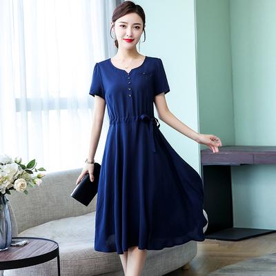 2021新款高端纯棉绸连衣裙女中长款40岁50人造棉中年气质妈妈夏装