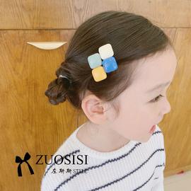 几何儿童发卡女童可爱亚克力小方块发夹高冷系宝宝发饰