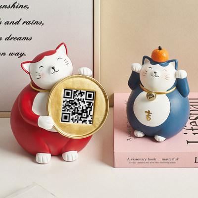 Resin Fortune Cat Decoration Gift Office Desk Wine Rack