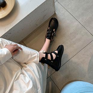 百搭透气平底复古镂空凉靴 帅气马丁靴夏季 短靴女春秋单靴2020新款