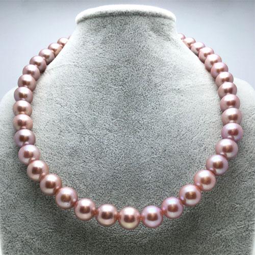 妖紫爱迪生10-11mm紫色金粉天然珍珠项链正圆 极强光正品女送妈妈