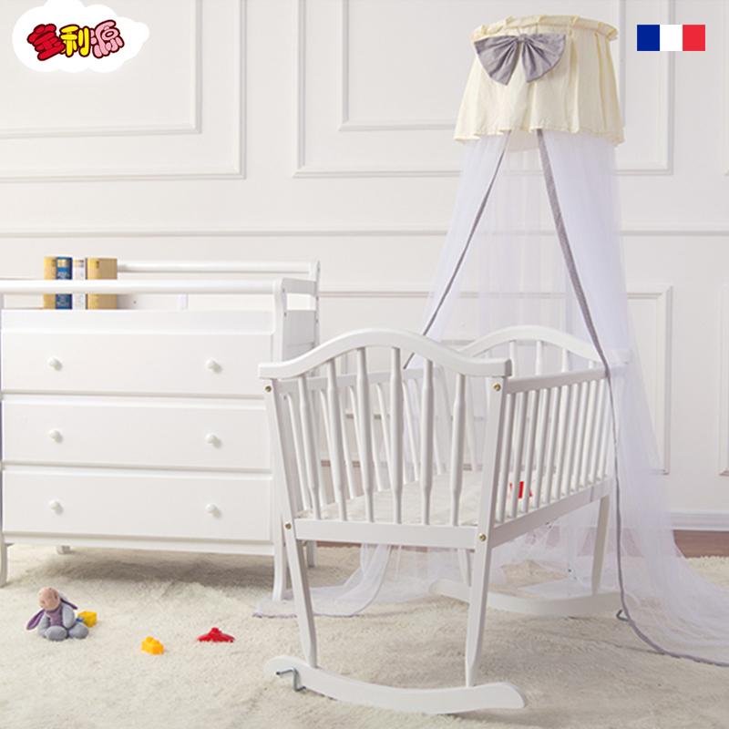 宝利源韩式小婴儿摇床实木无漆摇篮床新生儿宝宝床BB床 送床垫