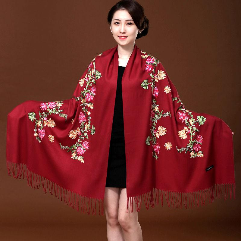 Handmade embroidery womens cashmere like wool scarf autumn and winter Qipao shawl womens versatile warm long
