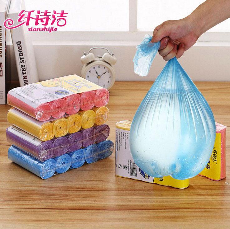 纤诗洁5卷加厚垃圾袋新料彩色厨房卫生间家用塑料袋中大号45*50cm