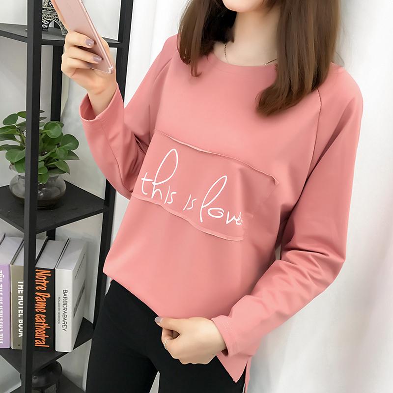2018秋装新款加肥加大码女装卫衣女学生韩版上衣宽松胖mm长袖T恤
