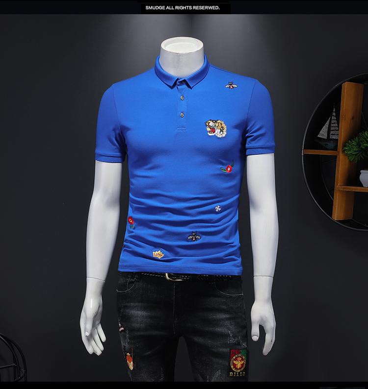 2021年新款刺绣短袖POLO衫 钱塘3019 T1101 P65 假模  蓝色