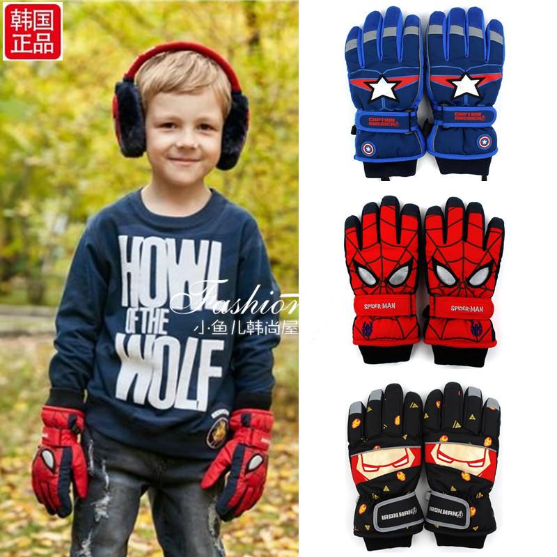 韩国winghouse正品儿童男孩防水滑雪五指手套加绒保暖棉手套冬季