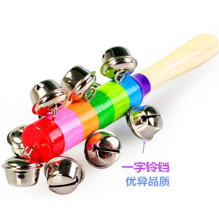 宝宝木制七彩手摇铃儿童小孩十个铃铛手摇铃婴幼儿益智玩具批 发