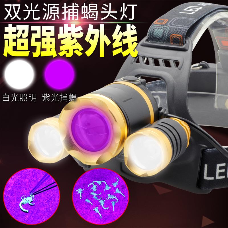 八火双光源蝎子灯头灯捕蝎专用头戴式手电筒395紫光灯T6紫外线灯券后35.00元