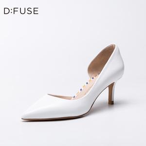 领50元券购买D:Fuse/迪芙斯2019春季新款尖头浅口侧空高跟单鞋女DF91114123
