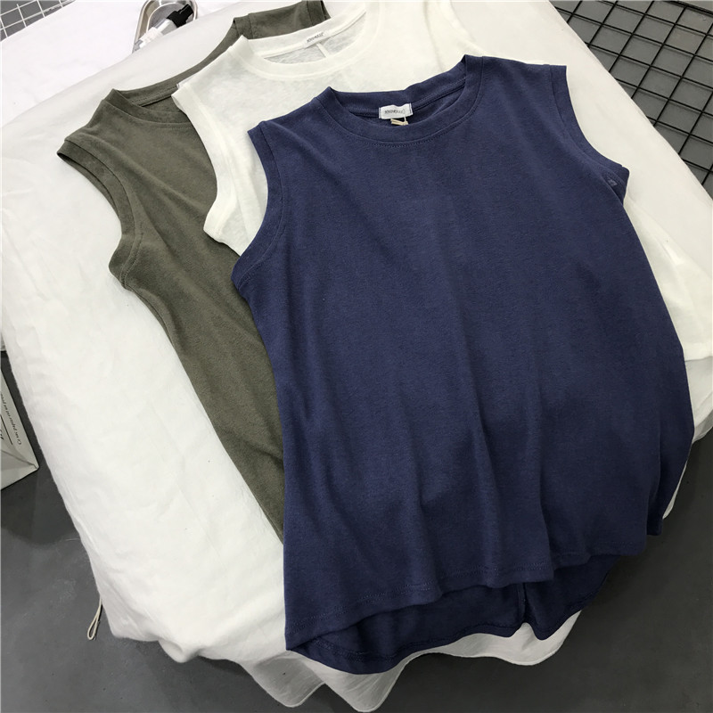 2019 new Korean simple solid half high crew neck slub cotton hemp sleeveless T-shirt womens Vest loose base T-shirt