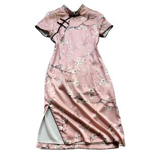 蘇繡真絲旗袍夏季2018新款女改良版少女甜美桑蠶絲年輕粉色連衣裙