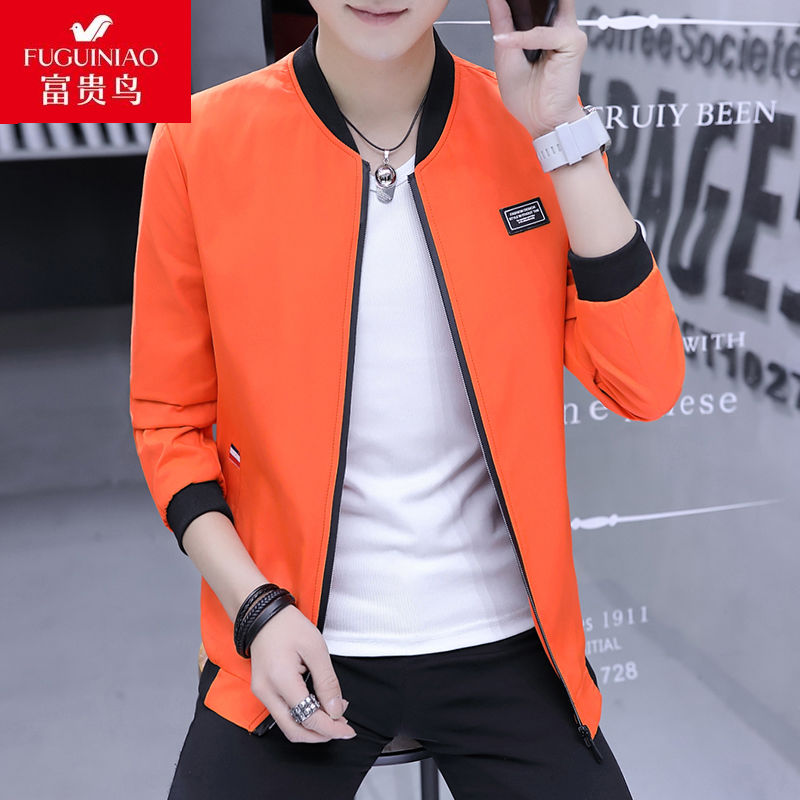 Fuguiniao mens coat autumn new Korean baseball uniform trend student youth slim leisure stand collar jacket