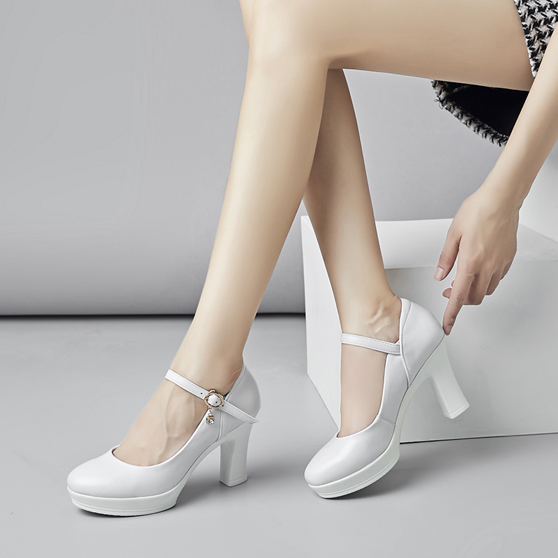 T-show high heels leather round head shallow mouth button white cheongsam show thick heel waterproof platform model womens shoes